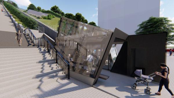 Implantación del ascensor inclinado entre la calle Langileria y el barrio de Txorierri en Leioa