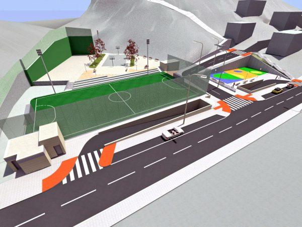 Urbanización en superficie sobre aparcamiento subterráneo y entorno en la calle Via Vieja de Lezama (Fase I)
